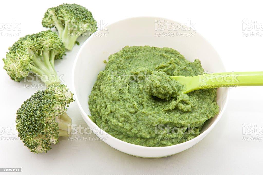Broccoli Baby Food Puree stock photo