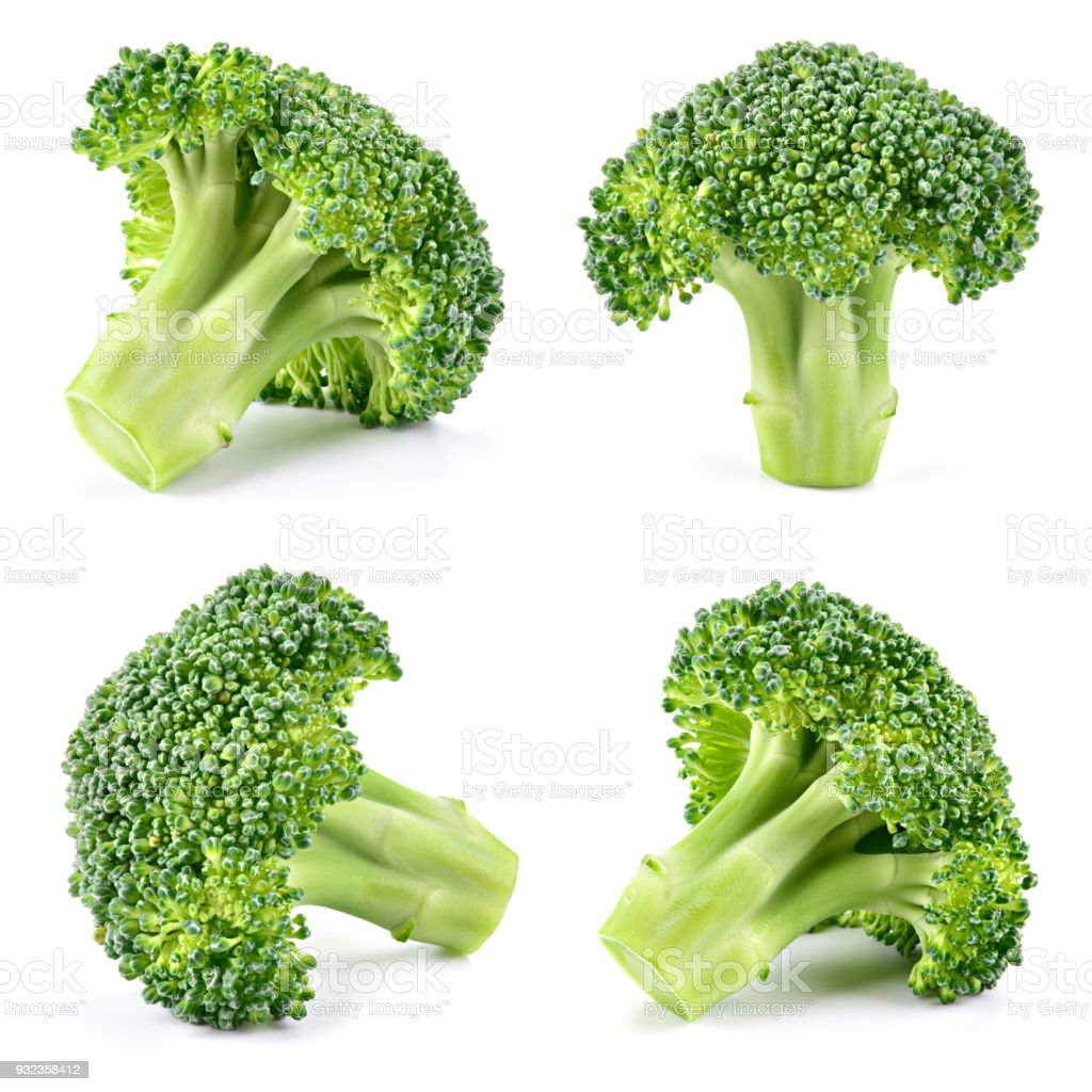 Broccoli. Broccoli isolated on white. Collection. Full depth of field. stock photo