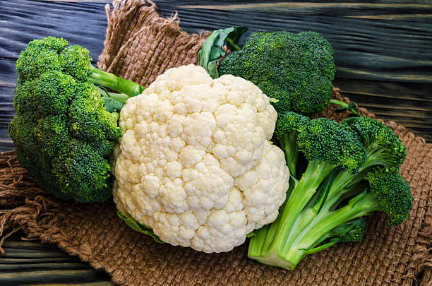 Broccoli, cauliflower and cabbage Broccoli, cauliflower and cabbage on a rustic background broccoli stock pictures, royalty-free photos & images