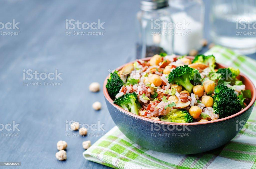 broccoli chickpea cilantro almond white and red rice stock photo