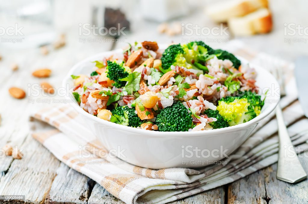 broccoli chickpea cilantro almond white and red rice stok fotoğrafı