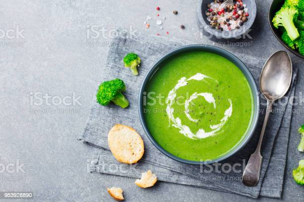 Broccoli cream soup in a bowl with toasted bread top view copy space picture id953928890?b=1&k=6&m=953928890&s=612x612&h=2gwwhxpp0uuz  sq7y0rj1 bdgtf0rj6dwbj7jm74ta=