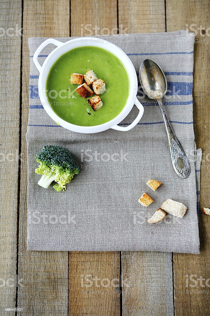 broccoli cream soup with croutons stock photo