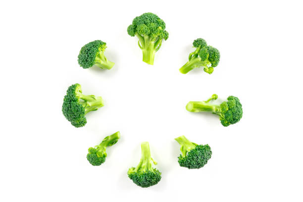Broccoli florets, shot from the top on a white background, forming a circular frame with a place for text stock photo
