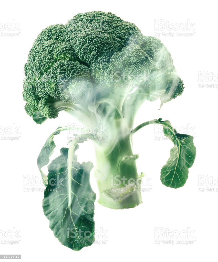 Broccoli head envelops smoke steam isolated white background stock photo