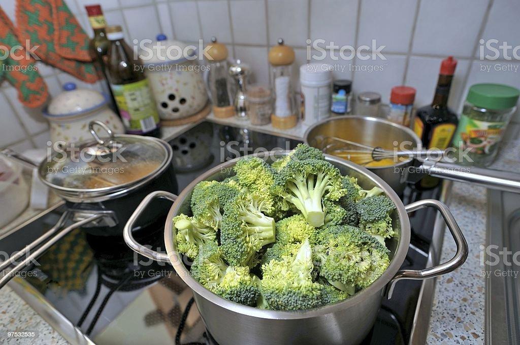 Broccoli in pot royalty-free stock photo