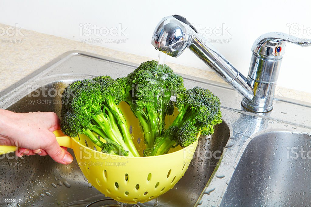 Broccoli in the sink stock photo