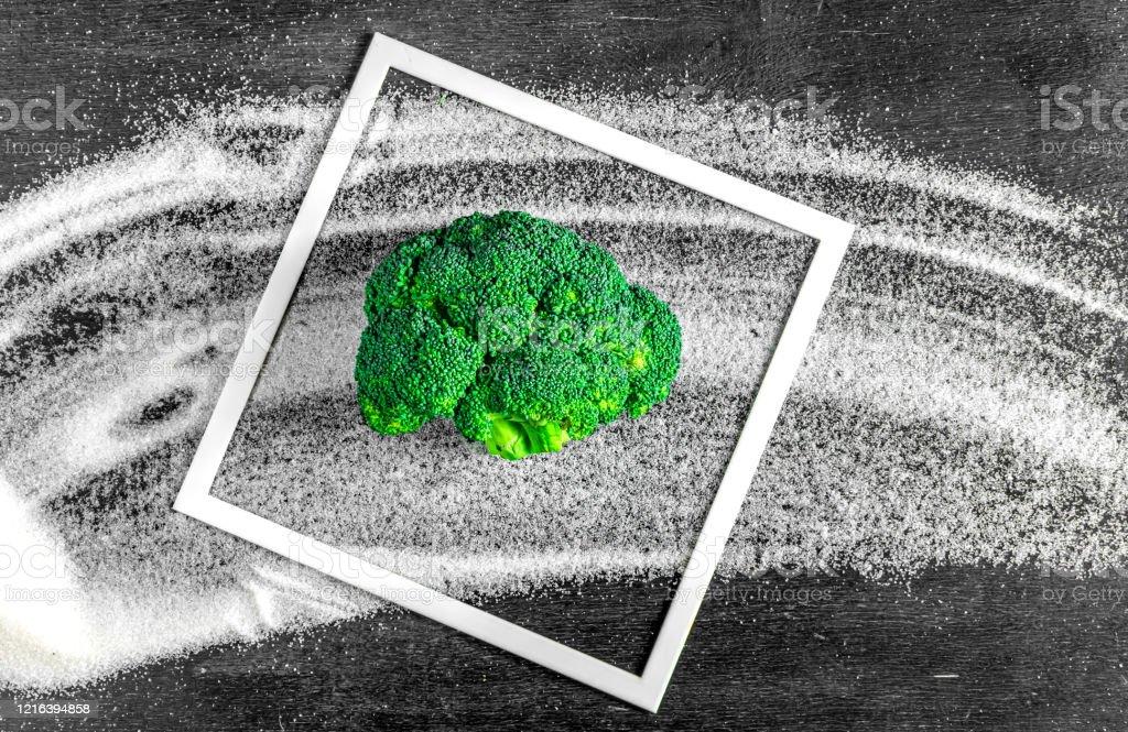 broccoli instead of sugar. concept of healthy diet, stop diabetes. broccoli instead of sugar. concept of healthy diet, stop diabetes Avoidance Stock Photo