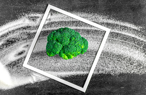 Broccoli Instead Of Sugar Concept Of Healthy Diet Stop Diabetes Stock Photo - Download Image Now