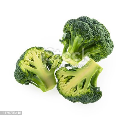 Broccoli isolated on white background top view