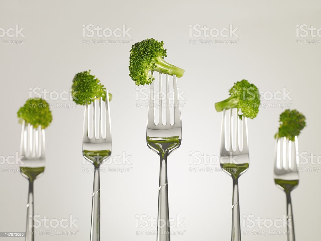 Broccoli on forks royalty-free stock photo