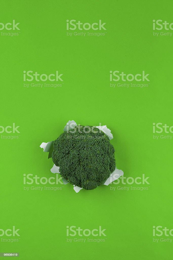 Broccoli on green background royalty-free stock photo