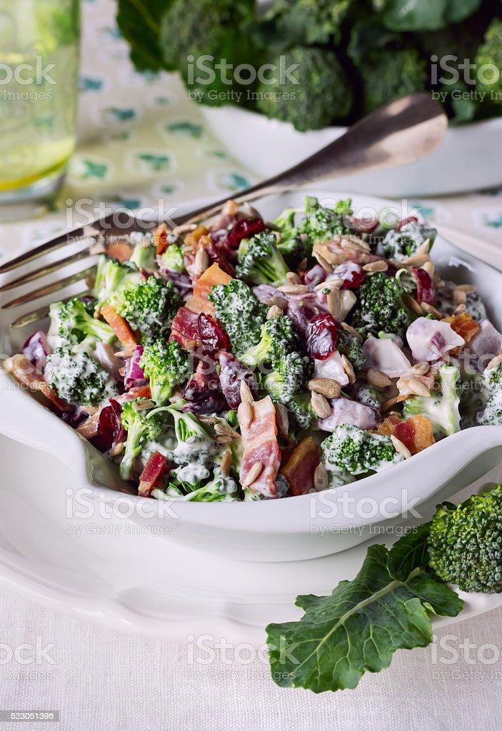 Broccoli salad. Close up. stock photo