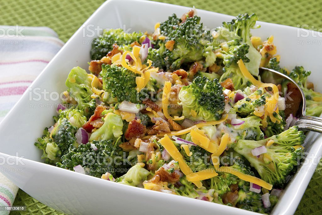Broccoli Salad with Cheese and Bacon stock photo