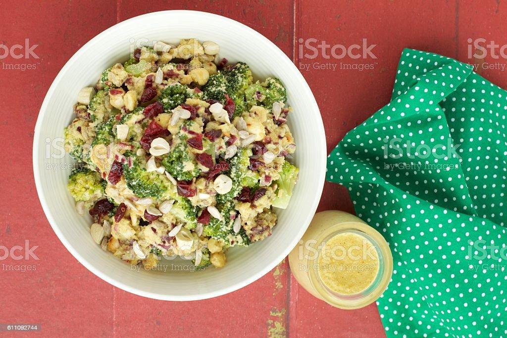 Broccoli salad with curry sauce stock photo