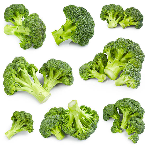 broccoli set - broccoli white background stock photos and pictures