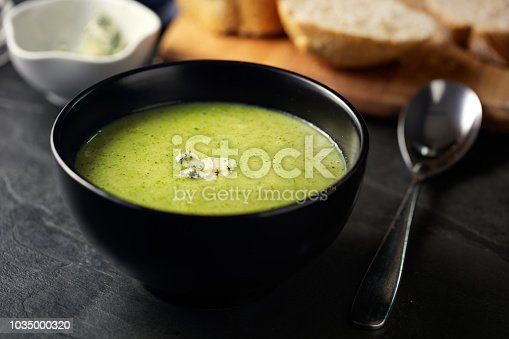 Home made freshness broccoli soup with blue cheese