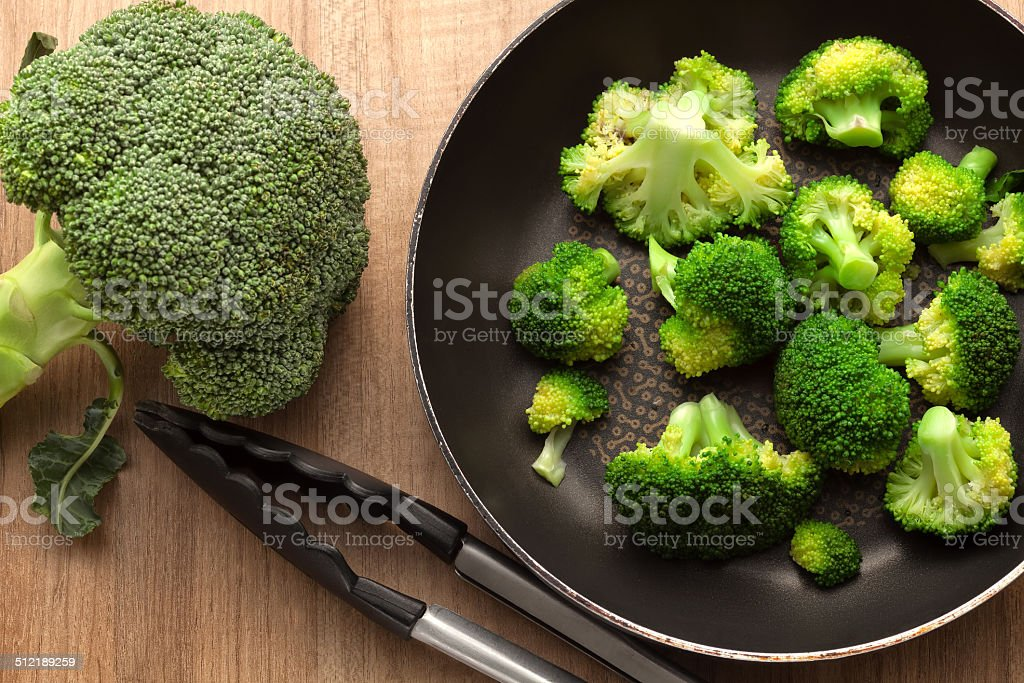 Broccoli with pan stock photo