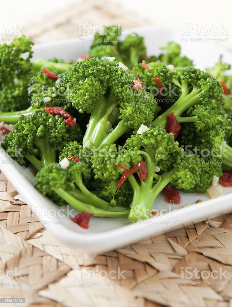 Broccoli with Sun-Dried Tomatoes stock photo