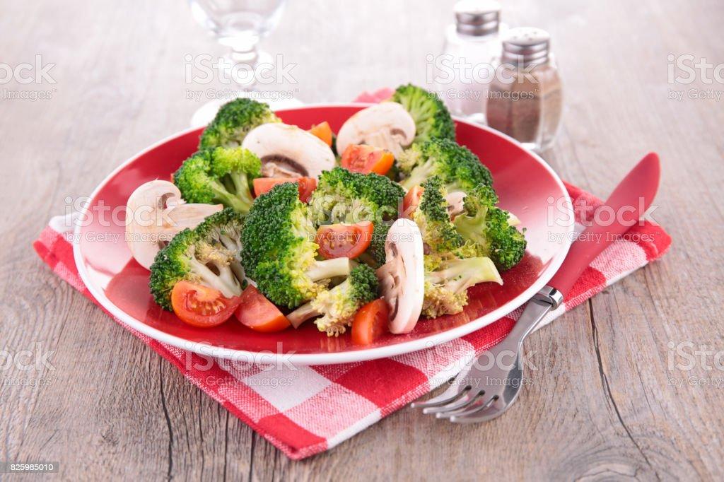 broccoli,mushroom and tomato stock photo