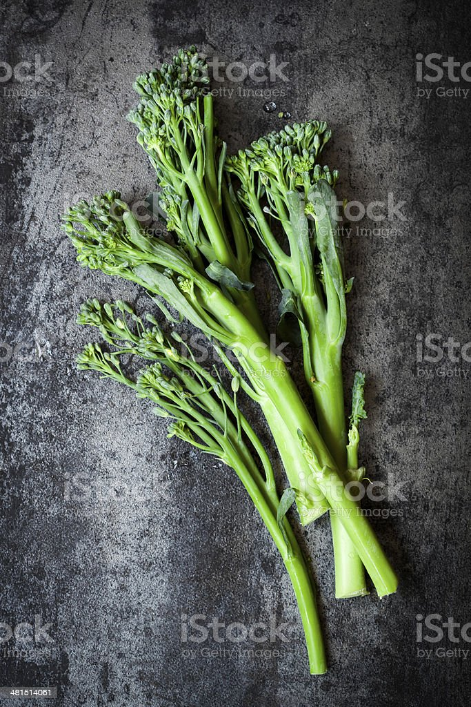 Broccolini on Slate Overhead view stock photo