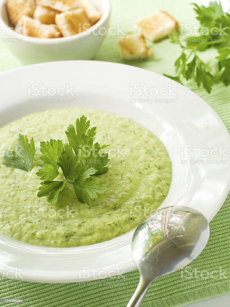 Broccoli-vegetable soup royalty-free stock photo