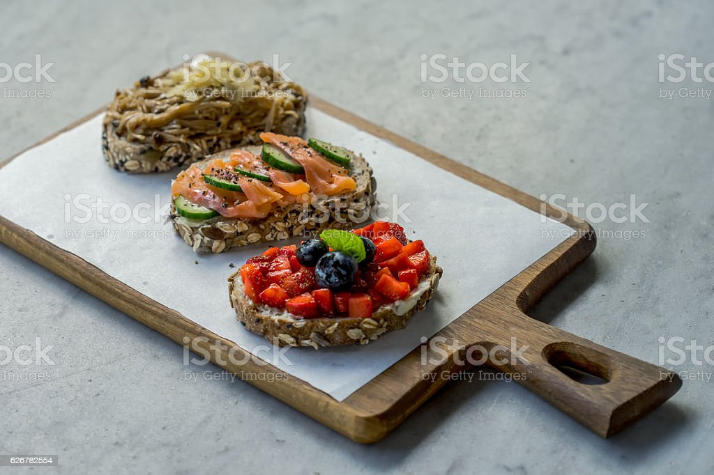 brochettes with red fish and a cucumber, stock photo