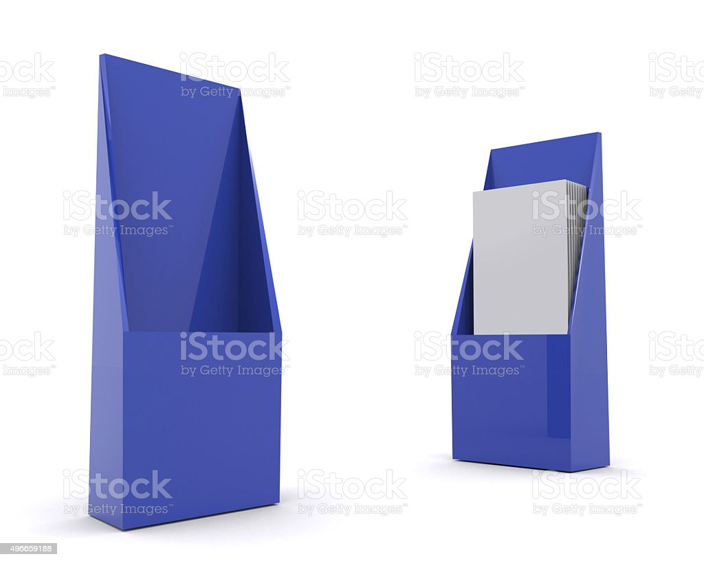 brochure holder template for designers display folder blue royalty free stock photo