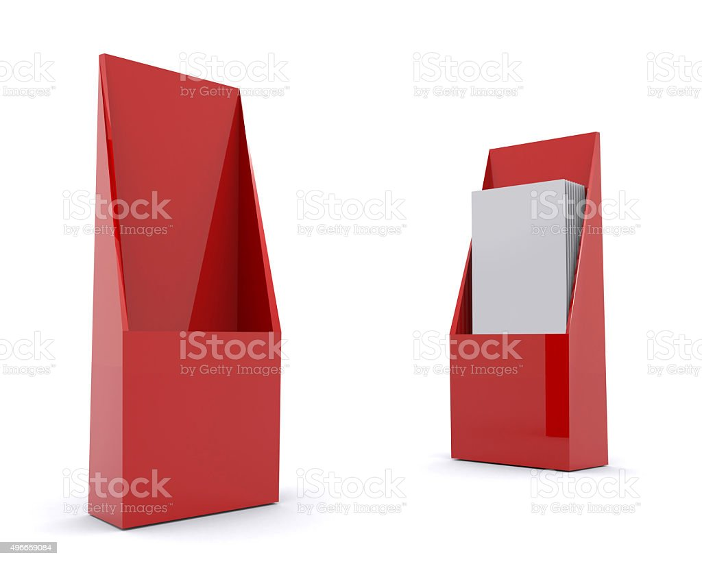 brochure holder template for designers display folder red royalty free stock photo - Paper Brochure Holder Template
