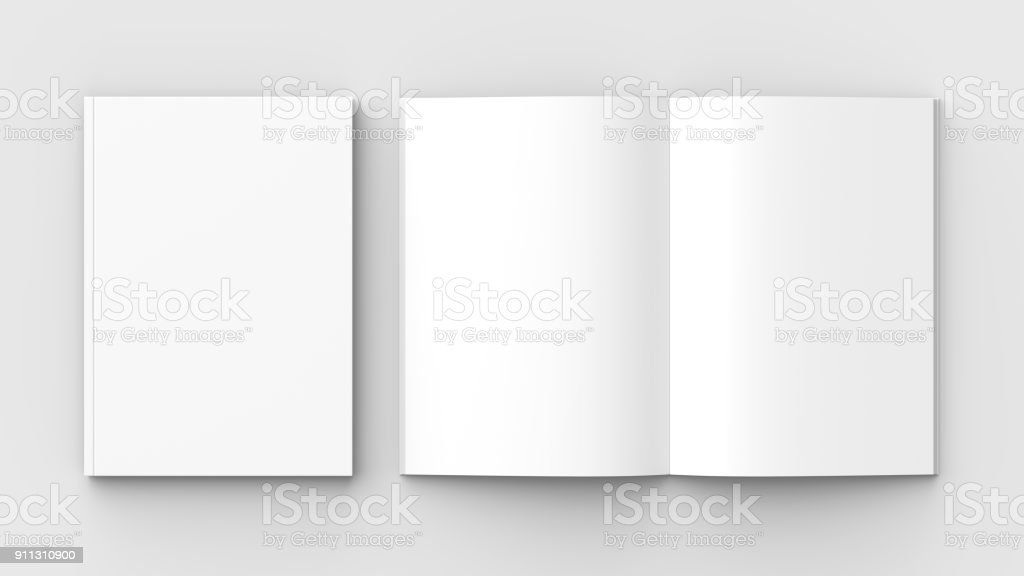 Brochure, magazine, book or catalog mock up isolated on soft gray background. 3D illustrating. - Foto stock royalty-free di Aperto