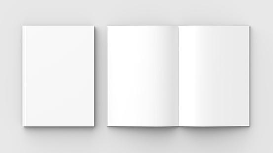 Folleto Revista Libro O Catálogo Simulacro Aislados En Fondo Gris Suave Ilustración 3d Foto de stock y más banco de imágenes de Abierto