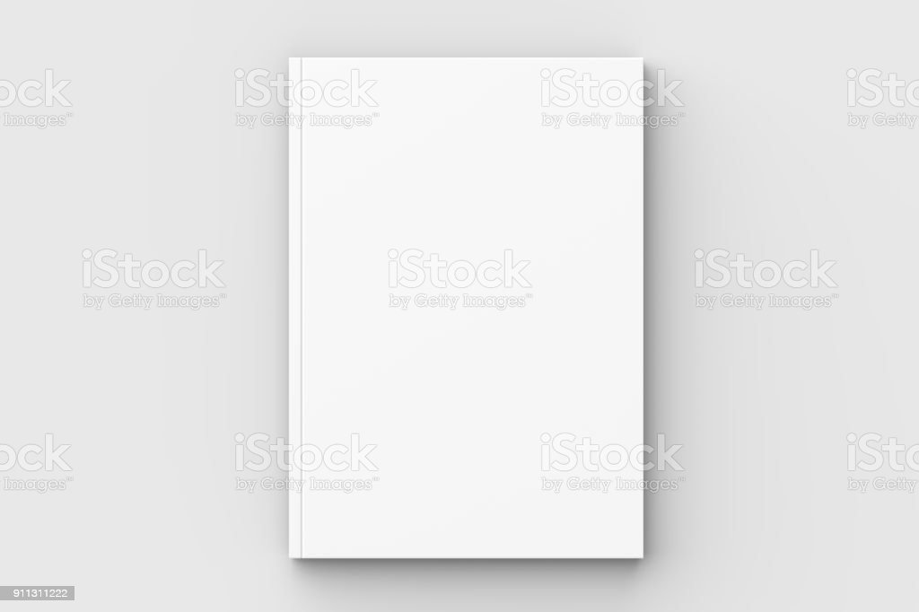 Brochure, magazine, book or catalog mock up isolated on soft gray background. 3D illustrating. stock photo