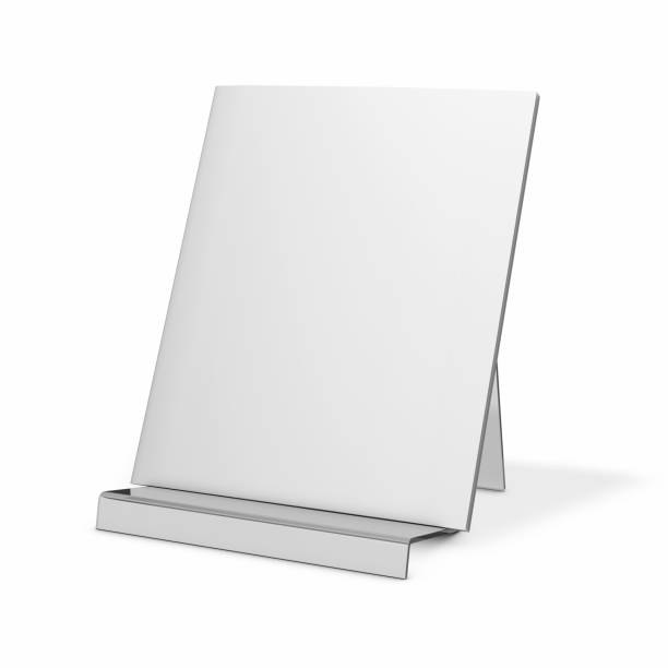Brochure, magazine mock up with blank cover standing on presentation stand. stock photo