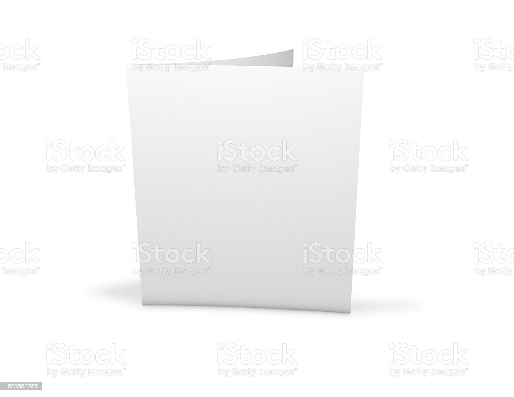 Brochure, printed flier with blank white cover. stock photo