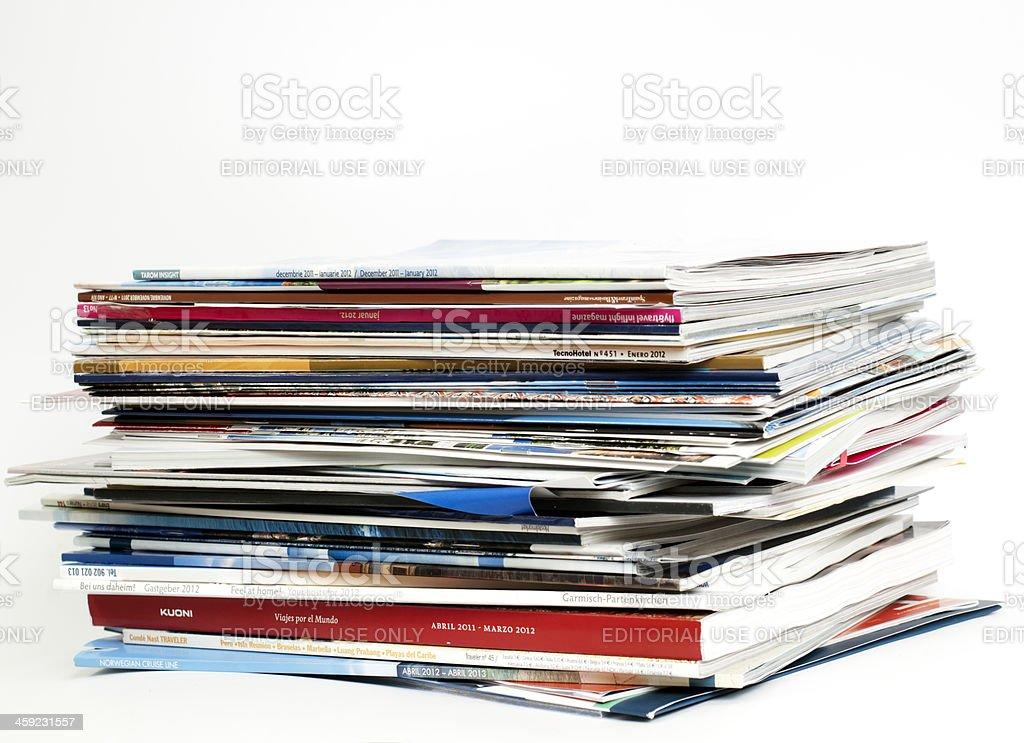 Brochures of major tour operators for 2012 stock photo