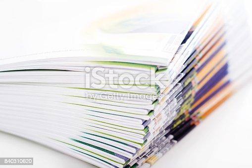 Stack of brochures.