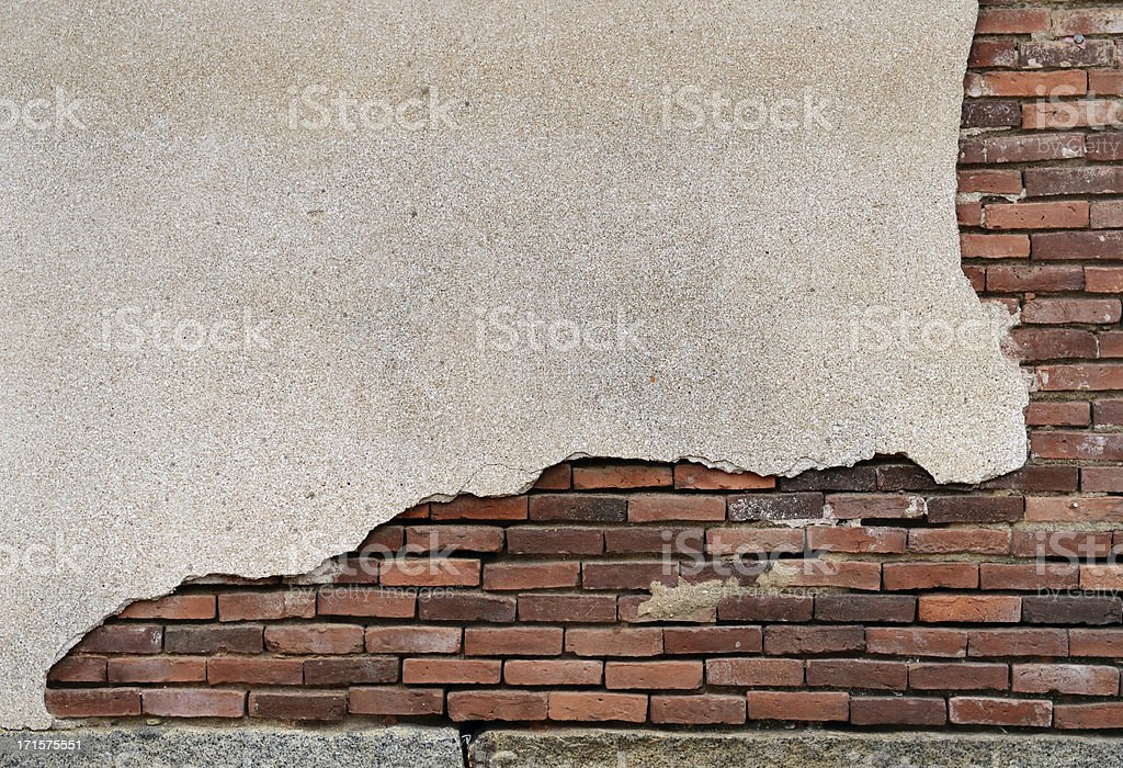 brocken brick wall stock photo