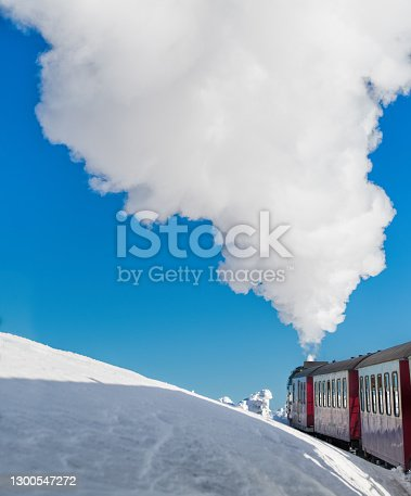 istock Brocken Mountain steam train in snowy landscape 1300547272