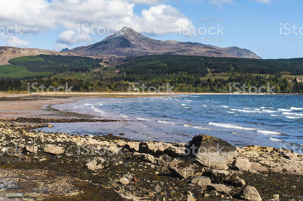 Brodick Bay and Goatfell stock photo