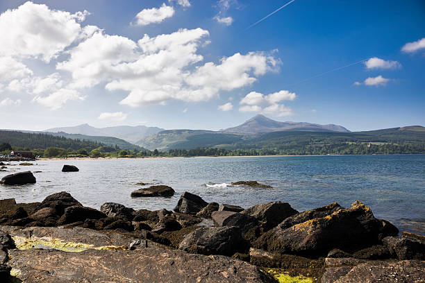 "Brodick Bay And Goatfell ""Looking across Brodick Bay towards Goatfell - the highest mountain on the Isle of Arran, Scotland."" theasis stock pictures, royalty-free photos & images"