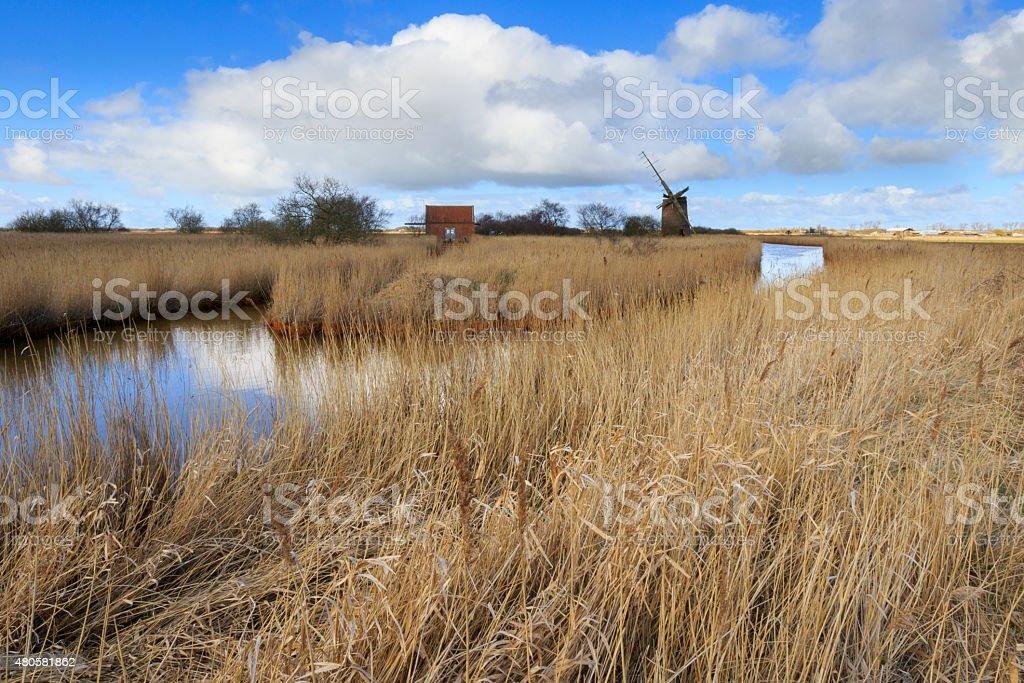 Brograve mill windpump stock photo