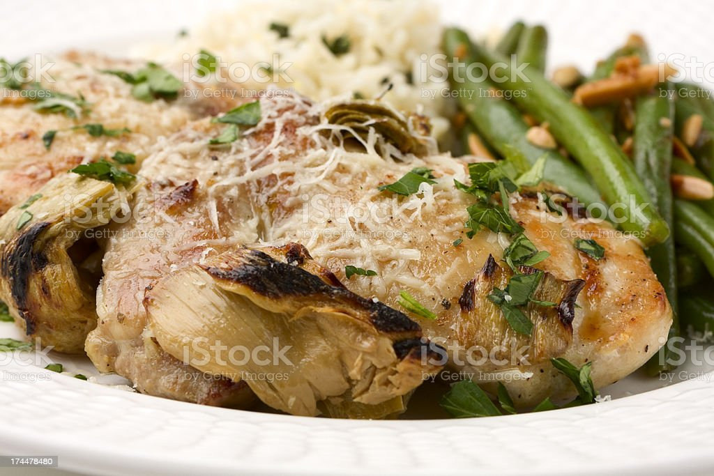 Broiled Chicken and Artichokes royalty-free stock photo