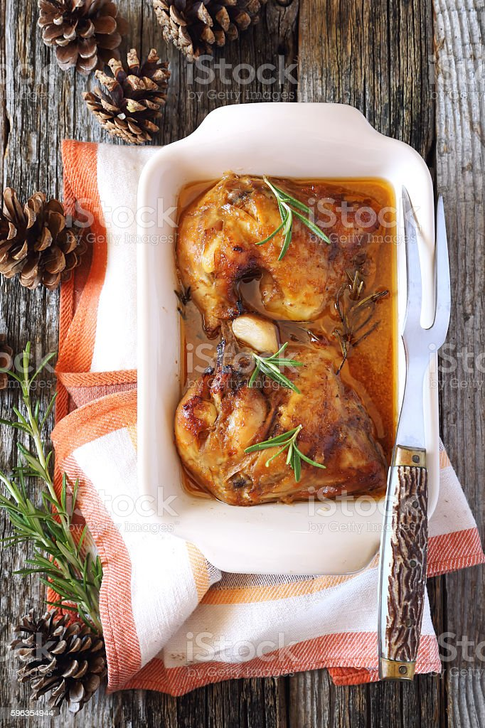 Broiled chicken and pine cones royalty-free stock photo