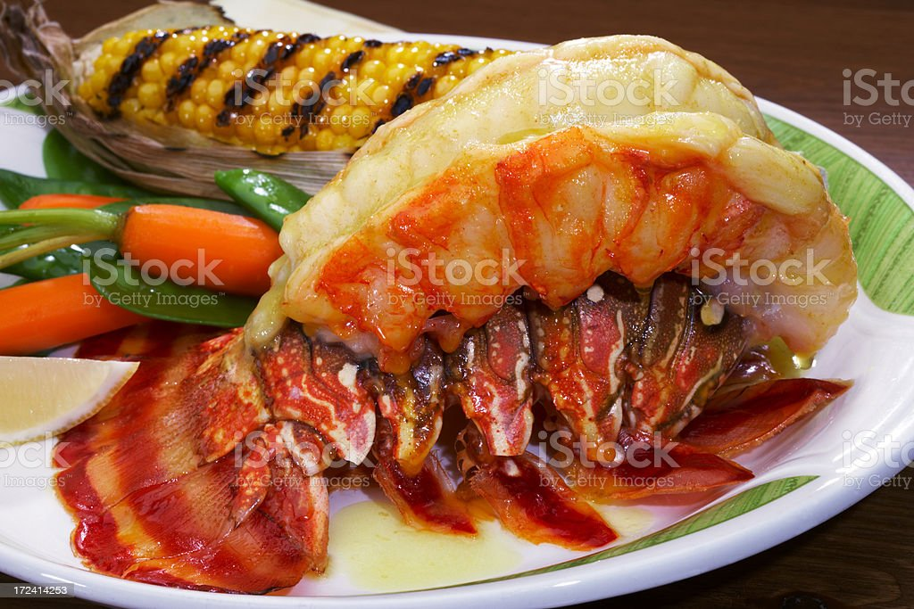 broiled Lobster tail stock photo