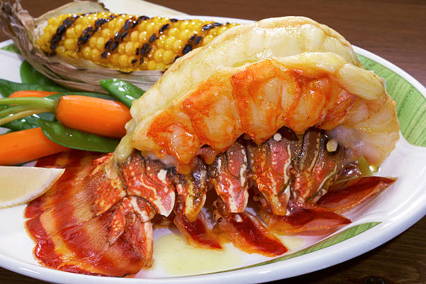 broiled lobster tail - tail stock photos and pictures
