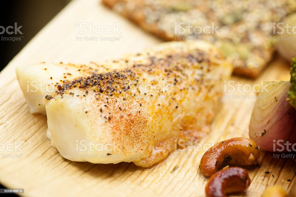 broiled wild caught cod fillets organic vegetable mix stock photo