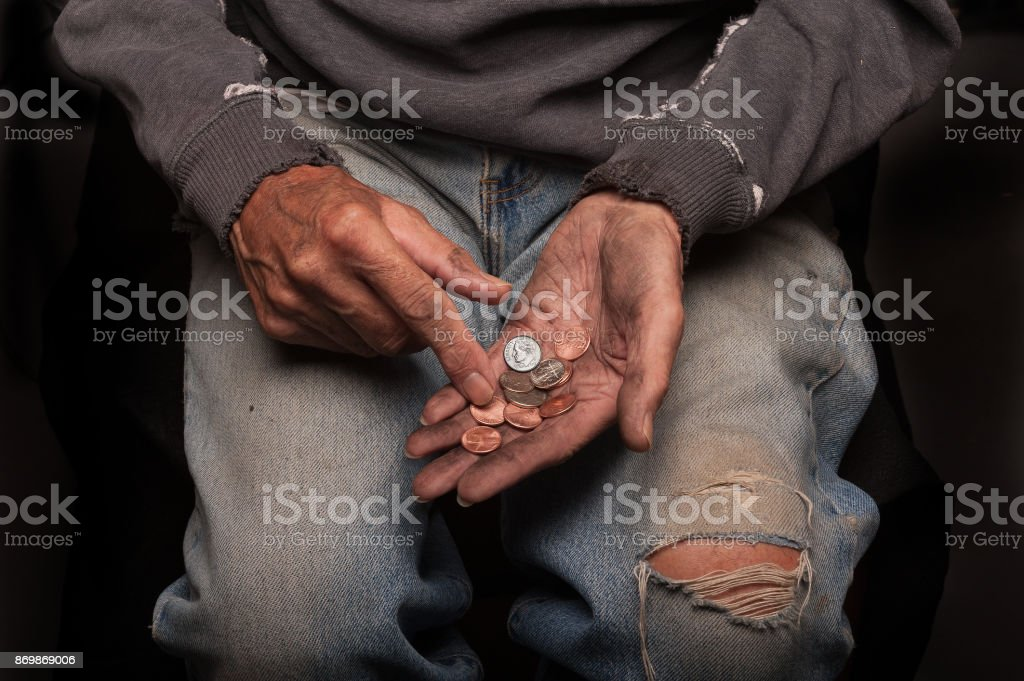 Broke and homeless stock photo