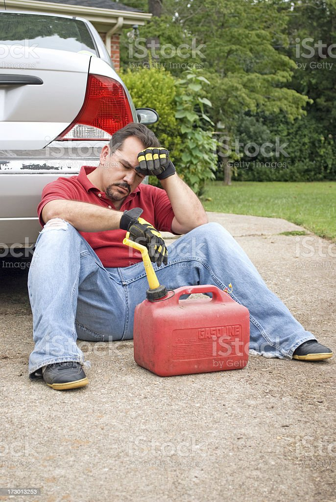 Broke and Out of Gas - Overwhelmed stock photo