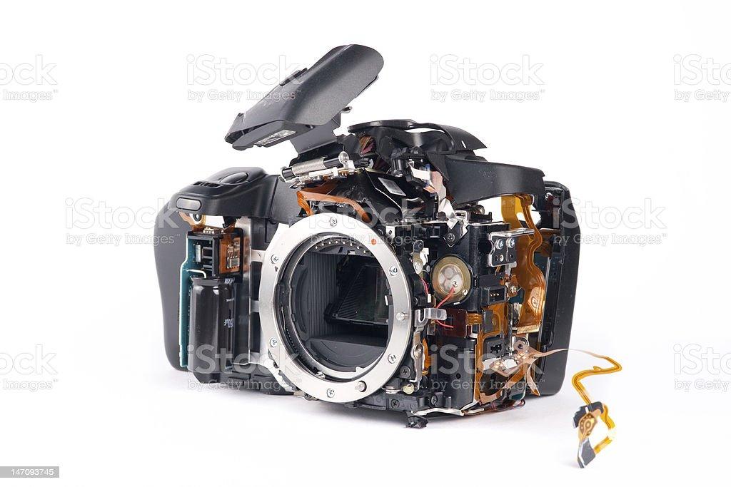 Broked DSLR camera stock photo