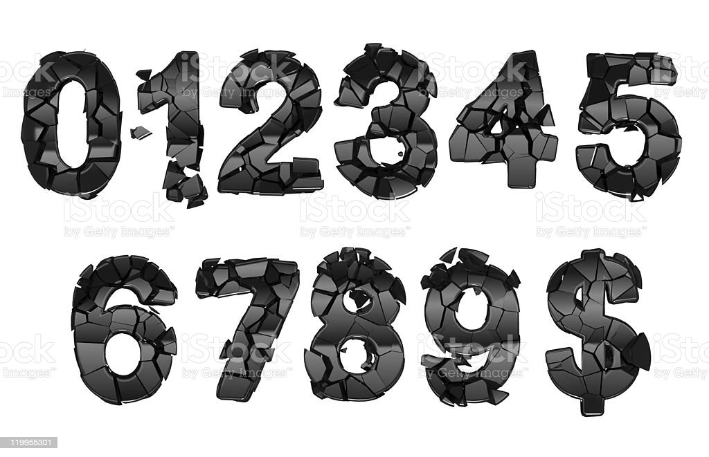 Broken 0-9 font numerals royalty-free stock photo